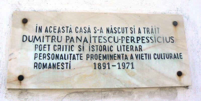 Placa comemorativa Perpessicius